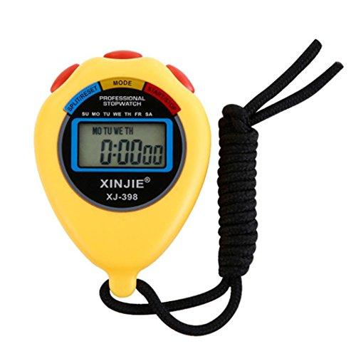 Staron Digital Stopwatch Timer, Digital Professional Handheld LCD Chronograph Waterproof Sports Stopwatch Timer Stop Watch (Yellow)