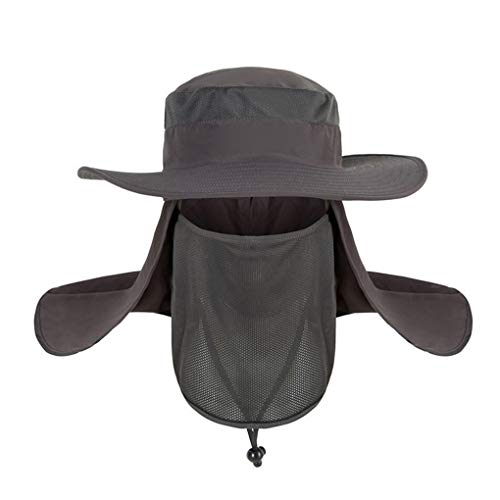 (Dressin_Hat minRan Wide Brim Bora Booney Outdoor Safari Summer Outdoor Mesh Sun Hat Wide Brim Fishing Hat with Neck Flap)