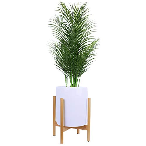 Homes Garden Plant Stand Mid Century Modern Wood Indoor Outdoor Rack Up to 14 Inch Flower Pot Holder Home Decor Mothers Day Gift (Ceramic Pot & Plant Not Included) #K317A00