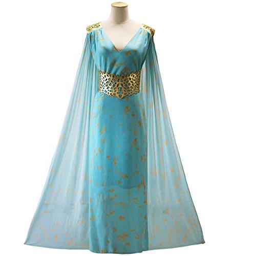 NSOKing Fashion Princess Daenerys Targaryen Cosplay Costume Dress Cloak Outfit (Medium, (Daenerys Targaryen Costume Qarth)