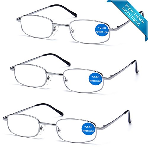 IMPECCABLE METAL frame and crystal clear vision - Viscare 3-Pack Men Women Metal Spring Hinged Full Frame Reading Glasses Readers With Case n Cloth - Crystal Frame Glasses