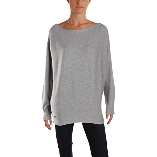 LAUREN RALPH LAUREN Womens Raw Hem Dolman Sleeves Pullover Sweater Gray XXL