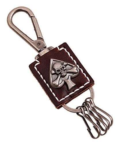 Case Bros Antique - CHINOs Bros (TM) Elegant Skull Antique Design Leather Keychain Waist Key Holder Key Fob Key Chain Holder (Black)
