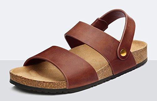 Happyshop (tm) Mensleather Tilfeldige Dobbelt Formål Sandaler Sko Peep Toe Tøffel Lufte Sandaler Vinrød