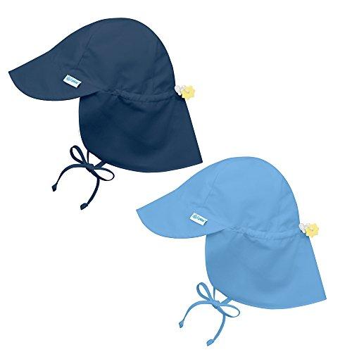 i play. 2PK UPF 50+ Sun Protection Flap Sun Hats Baseball Brim Hat-2T-4T-Lt. Blue - I Play Solid Brim Hat