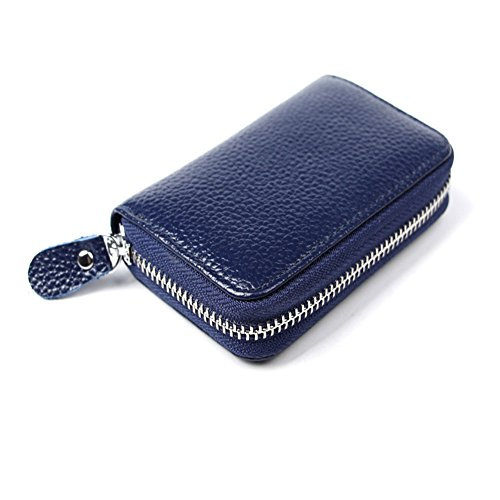 Leather ID Holder Credit Card Holder+RFID Blocking for Mens Womens