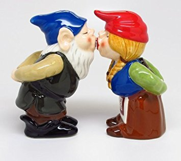 Kissing Gnome Couple 4 Inch Ceramic Magnetic Salt and Pepper Shaker Set Fun Novelty Gift (Salt Hers His And Pepper Shakers And)