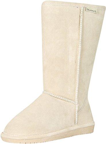 BEARPAW Womens Emma Tall 12-Inch Suede Sheepskin Boot, Camel, US 6 (Womens Sheepskin Wedge Suede)