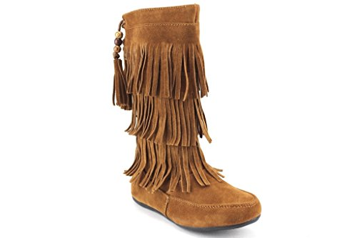Ositos Kids Girls BDW16-K Tall Suede Fringe Moccasin Boots, Tan, 11 ()