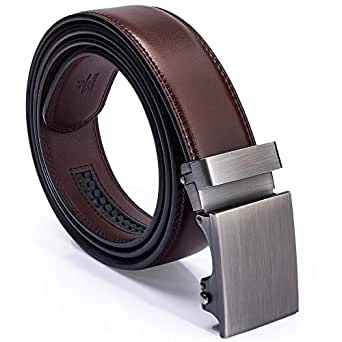 Men's Leather Belt, GUHIDO Genuine Cow Leather Slide Ratchet Belt with Automatic Buckle Use for men business, Casual, Elegant Gift Box