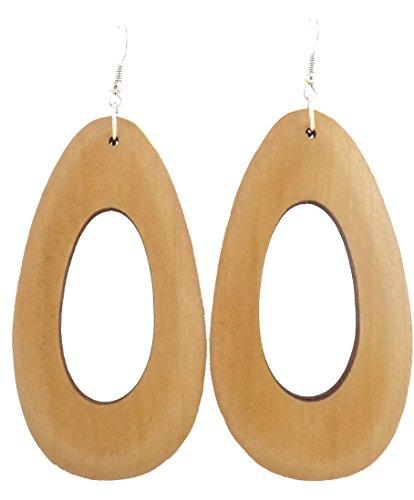 Wood Earrings – Wooden Earrings – Rasta Earrings – Big Wooden Handmade Earrings (Beige Oval Model)