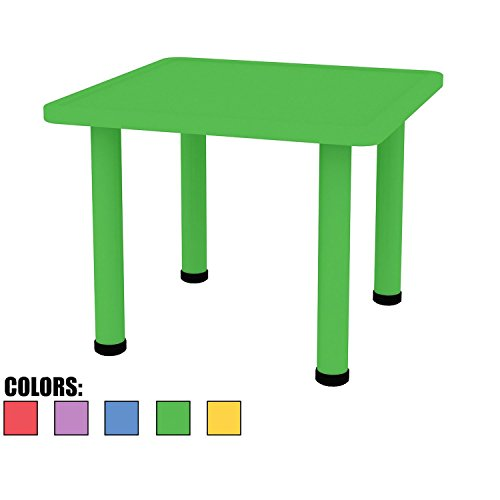 "2xhome - Green - Kids Table - Height Adjustable 21.5 inches to 22.5 inches - Square Shaped Plastic Activity table With Metal legs for Preschool School Learn Play 24"" x 24"""