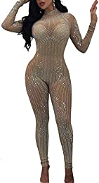 Women Sexy Mesh See Through Bodycon Rhinestones Long Jumpsuit Clubwear