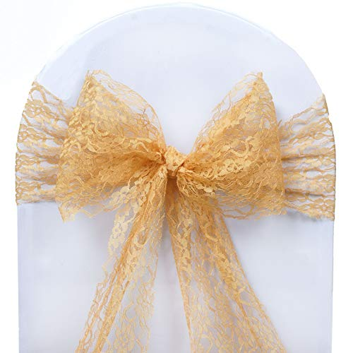 Mikash Lace Chair Sashes Bows Wedding Reception Party Dinner Fundraiser Decorations | Model WDDNGDCRTN - 7420 | 30 pcs