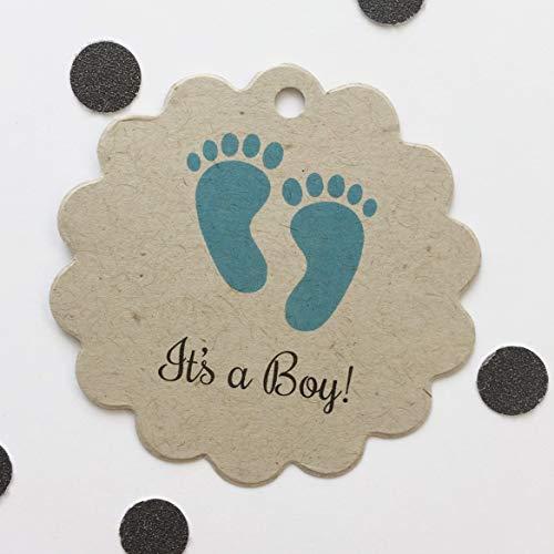(It's A Boy Baby Feet Kraft Brown Shower Favor Tags, Custom Tags (SC-208-KR))