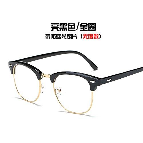 Gold Equipo Bright KOMNY plata brillante negro anillo gafas del Ring marea radiación Black de y Gafas azul bastidor gafas qnTqYrZ
