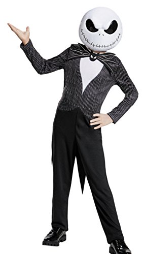 Santa Jack Skellington Costume (Jack Skellington Child Classic Nightmare Before Christmas Disney Costume, Large/10-12)