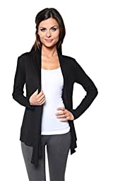 Free to Live Women\'s Light Weight Open Front Cardigan Sweater Made in USA (XL, Black)