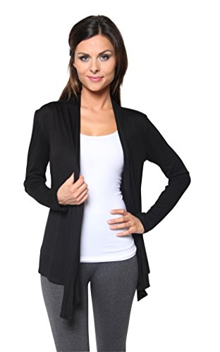 Free to Live Women's Light Weight Open Front Cardigan Sweater Made in USA (2X, Black)