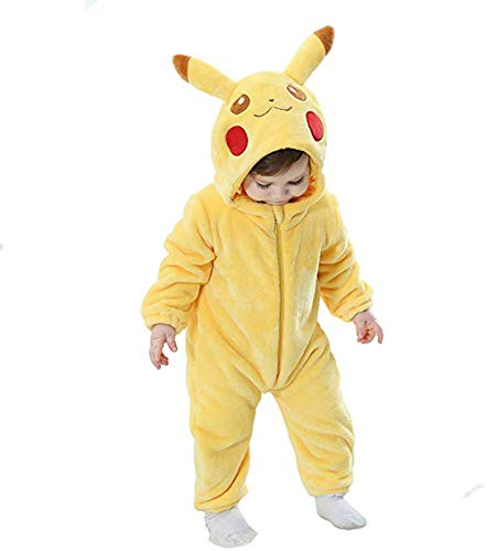 Baby Pikachu Halloween Costumes (Unisex-Baby Flannel Romper Animal Onesie Pajamas Outfits Suit (Pikachu,)