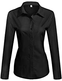 Womens Cotton Basic Simple Button Down Shirt Slim Fit Formal Dress Shirts