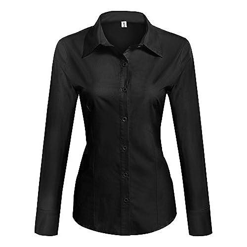 HOTOUCH Mujer Camisa Negro de Manga Larga Blusa Slim Fit con Elástico M