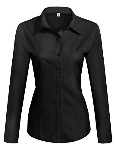 HOTOUCH Women Collared Button Down Long Sleeve Dress Shirt Black Small