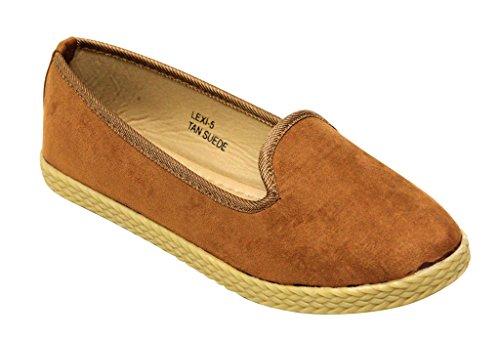 Bella Marie Lexi-5 Femmes Bout Rond En Daim Supérieure Mocassins Doux Confort Semelle Sur Les Chaussures Plates Tan