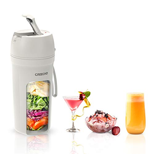 GREECHO-Portable-Blender-One-handed-Drinking-Mini-Blender-for-Shakes-and-Smoothies-12-oz-Personal-Blender-with-Rechargeable-USB-Made-with-BPA-Free-Material-Portable-Juicer-Elegant-Matte-White