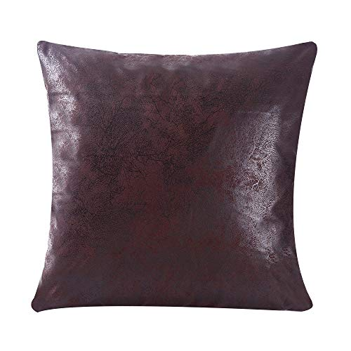 (WFLOSUNVE Soft Faux Leather Pillow Cover, Chocolate Decorative Throw Pillow Case Cushion Cover for Couch and Sofa 20x20 Inch (Dark Brown))
