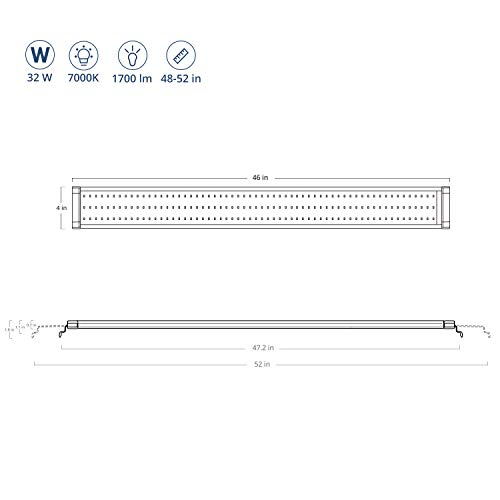 NICREW ClassicLED Aquarium Light, Fish Tank Light with Extendable Brackets, 48-Inch, 32 Watts