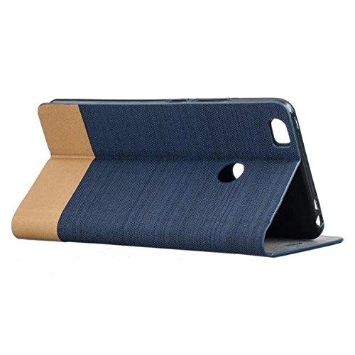 Funda Xiaomi Mi Max 2, diseño de lona de estilo simple tapa de la caja de cuero PU con ranura para tarjeta para Xiaomi Mi Max 2 ( Color : White ) Dark Blue