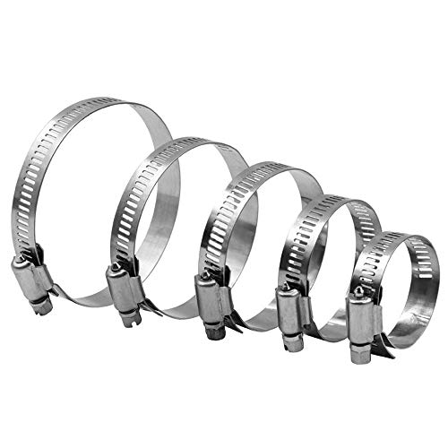 JHTC Hose Clip Clamp, 304 Stainless Steel Jubilee Clip, Pipe Clamp for Plumbing, Automotive, Mechanical Applications, Marine Ship, Securing Cable, HVAC, Pipe,11.81-21.65 in(4PCS)