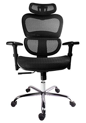 Smugdesk Mesh Adjustable Headrest Lumbar Support 3d Armrest Office Chair Dark Black
