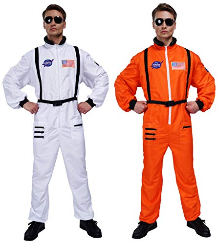 Maxim Party Supplies Mens Astronaut Costume Jumpsuit for Adults with Embroidered Patches and Pockets