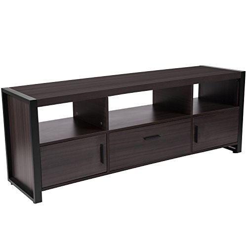 (Flash Furniture Thompson Collection Charcoal Wood Grain Finish TV Stand and Media Console with Black Metal Frame)