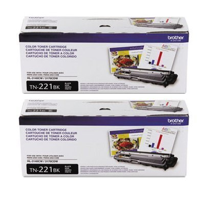 (Brother Genuine TN221BK Color Laser Black Toner Cartridge 2-Pack)