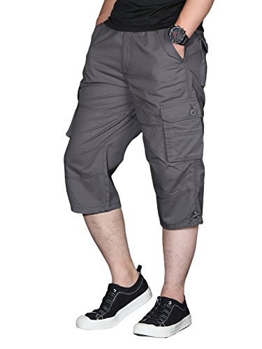 Fit Knee Short - EKLENTSON Men's Capri Pants Below Knee Shorts Loose Fit Army Outdoor Camping Summer Shorts Gray