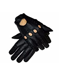Men's Genuine Leather Unlined Driving Fashion Biking Riding Trucking Racing Costume Gloves