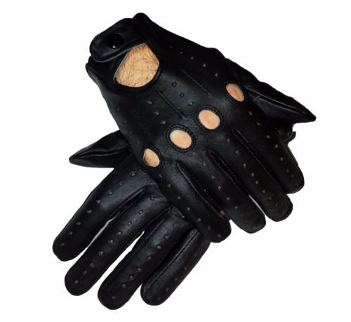 Real Leather Men's Driving Gloves - Free Shipping (Black, Small) SPORTSIMPEX
