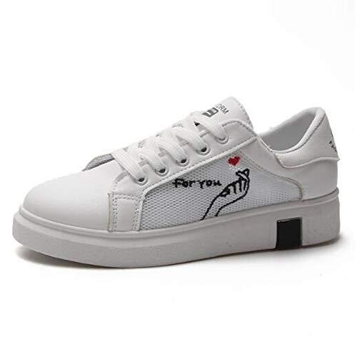 ZHZNVX Zapatos de Mujer de Microfibra de Primavera/Verano Comfort Sneakers Flat Heel Cerrado de Punta Negra/roja Black