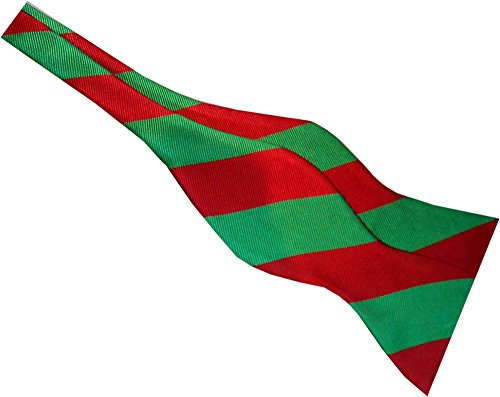 Stripe Freestyle Bow Tie (Red Green Stripe Holiday Real Silk Self-tie Bow Tie)