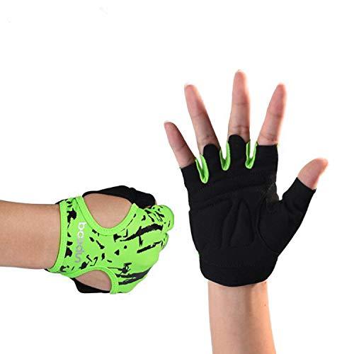 (LNYF-OV Fitness Glove Female Half Finger Equipment Training Yoga Dynamic Bicycle Back Skeleton Series Sports Adult, Green: Size: M,l)