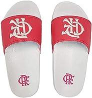 Chinelo Flamengo Slide Kids CRF Bordado 2018 Outubro Rosa Branco/Pink