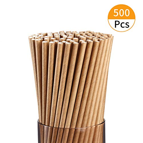 Brown Kraft Paper Straws,500 Pcs,Dye-Free Biodegradable Drinking Straw with Bulk,Food-Safe 7 3/4 inches Long.
