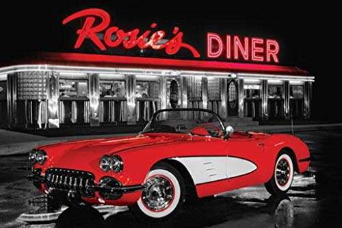(Pyramid America Rosies Diner Iconic Vintage Photo Red Sports Car Poster 36x24 inch)