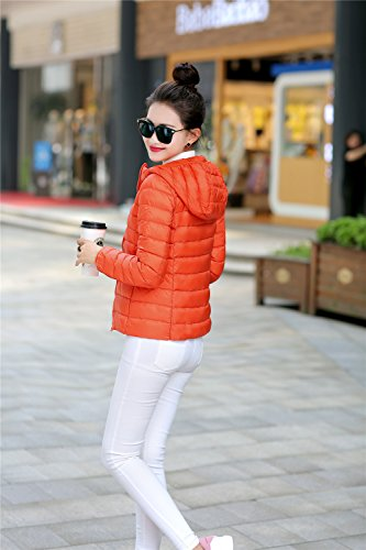Down Quibine Women's Jacket Orange Quilted Coat Ultralight Packble Hooded Down SSOFwBIq