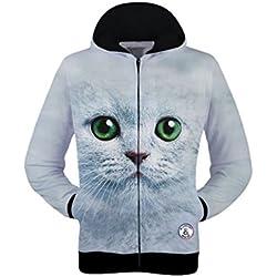 Pink Queen Casual White Cat Zip Up Sweater Sweatshirt Hoodies for Women(XXL)