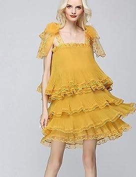 JIALELE Vestido Fiesta Mujer,De Fiesta Vestidos Sueltos, Correa Sleeveless Cintura Elástica,L