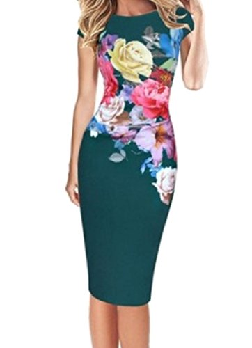 Women Plus Mid Floral Short Dress Sleeve Green Stylish Size Spring Slim Coolred 5dngq5